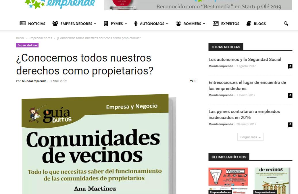 """Mundo Emprende, medio especializado en empresa, habla del """"GuíaBurros: Comunidades de Vecinos"""""""