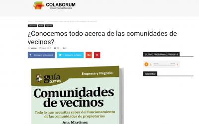 """El """"GuíaBurros: Comunidades de vecinos"""" en Colaborum, medio especializado en economía colaborativa."""